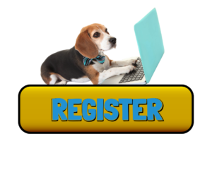 Dog at lap top - Register button